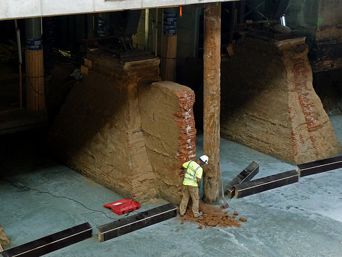 Old & new foundations under Central Station Amsterdam, photo 2012 / city-amsterdam